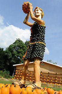 Kürbisausstellung, Skulptur aus Kürbissen